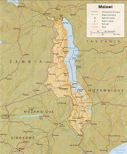 Carte en relief du Malawi