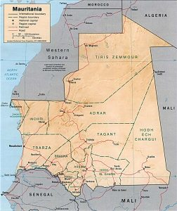 Carte en relief de la Mauritanie