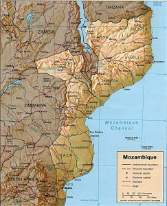 Carte en relief du Mozambique