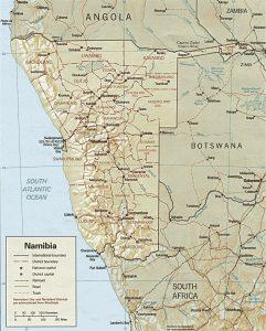 Carte en relief de la Namibie
