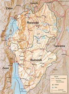 Carte en relief du Rwanda