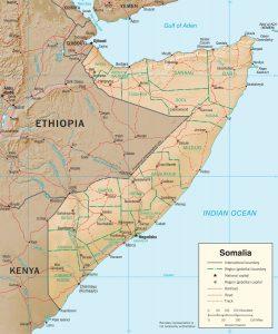 Carte en relief de la Somalie