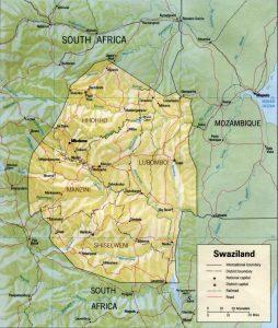 Carte en relief du Swaziland