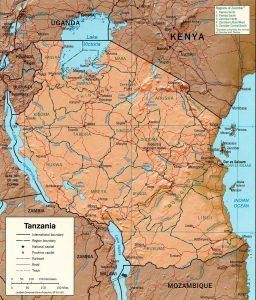 Carte en relief de la Tanzanie