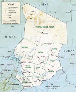 Carte en relief du Tchad