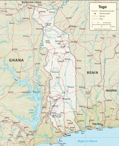 Carte en relief du Togo
