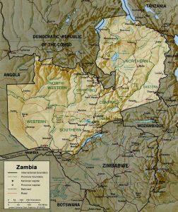 Carte en relief de la Zambie