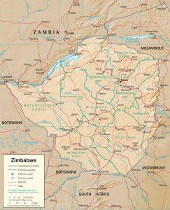 Carte en relief du Zimbabwe