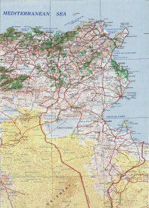 Carte topographique de la Tunisie