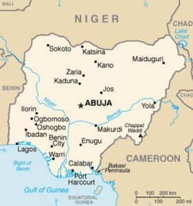 Carte vierge du Nigeria